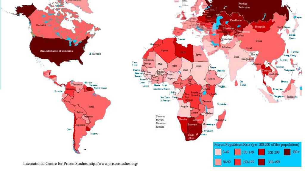 世界刑務所入所者率地図
