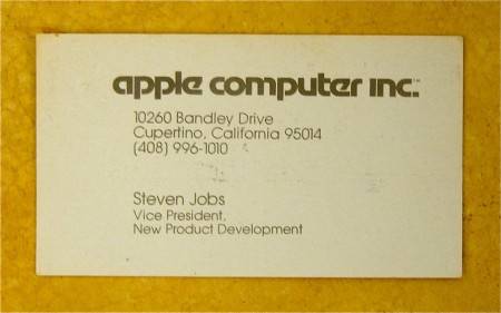 1979年のスティーブ・ジョブズのアップル副社長名刺