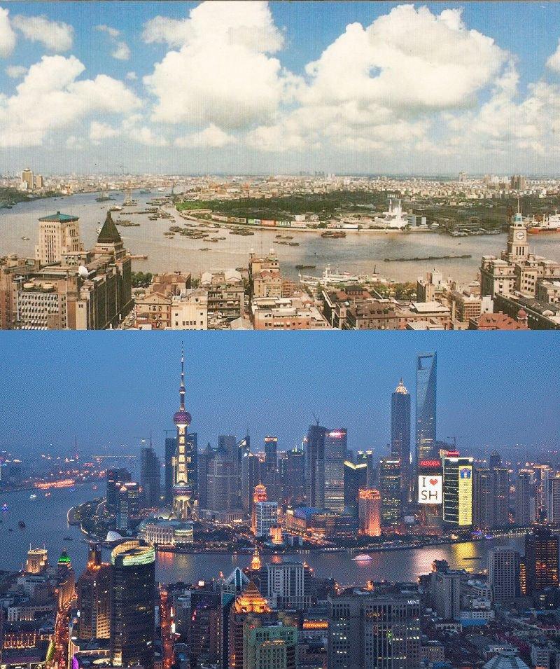 過去20年の上海外灘(バンド)の変化を見せる写真